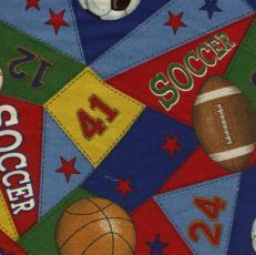 Sportbälle und Flaggen, Blau