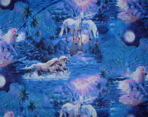 Mystical Ride, Pferde bei Nacht, Blau