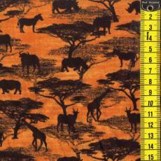 Serengeti-Quilt, Tiere Allover, Orange