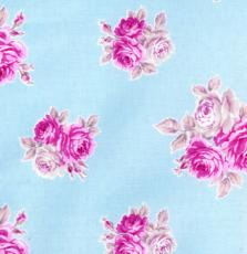 French Hat Box: Duck-Egg Blue small Rose Print