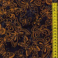 Batik, Sunney Provence, hellbraune Schmetterlinge, Dunkelblau