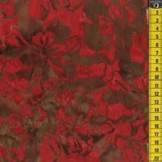 Batik, Rote Blumen, Grau