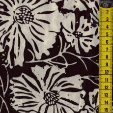 Batik, Black Lava, Blumen, Schwarz/Weiß