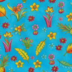 Zippy Jungle, Blumen, Blätter & Ananas, Türkis