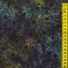 Batik, Jewel Shimmer, Türkise Blumen, Dunkelblau