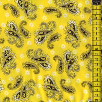 Yellow Mellow, Paisley Schwarz auf Gelb
