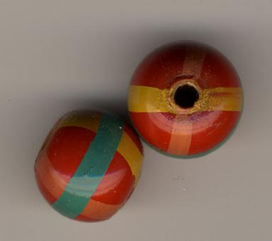 Holzkugel - Streifen - 15mm