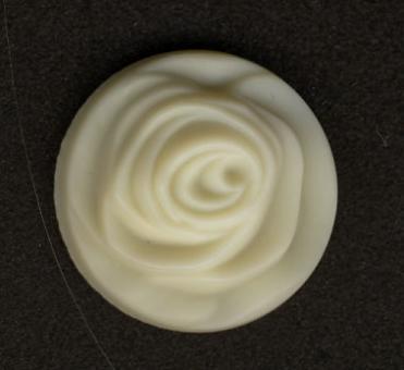 Rose, Weiß (Glas)  23mm