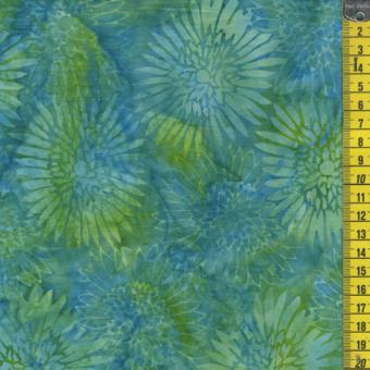 Batik, grüne Blumen, Türkisblau