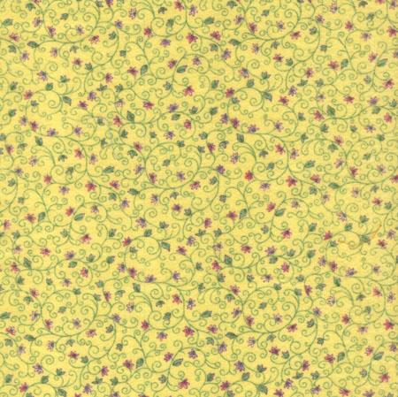 Flannel Gelb mit Blumenranken