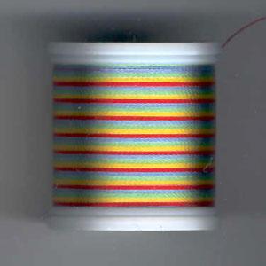 Rayon Garn, Multicolor Grün/Blau/Rot/Gelb 2147, No. 40, 200m