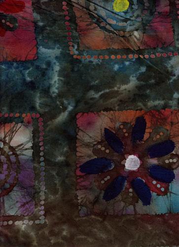 Indo Batik, Blau und Rottönen